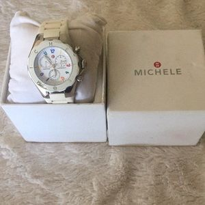 Michele White Jelly Chronograph Watch